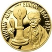 Thomas Alva Edison - 135. výročí sestrojení žárovky zlato proof