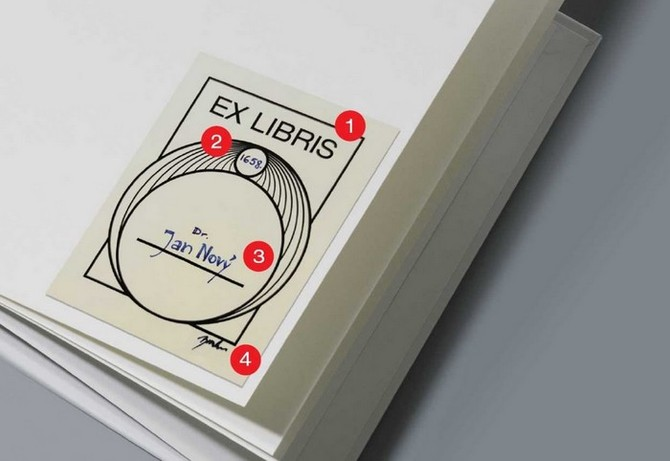 Nápis ex libris bývá dominantním prvkem  grafiky