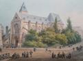 Kostel svatého Médarda v Paříži, akvarel podepsán Isidore Laurent Deroy (1797-1886)