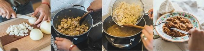 Recept je spojení guláše se smetanou a zelím