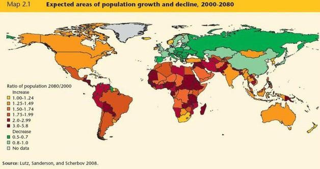 Oblasti růstu a poklesu světové populace