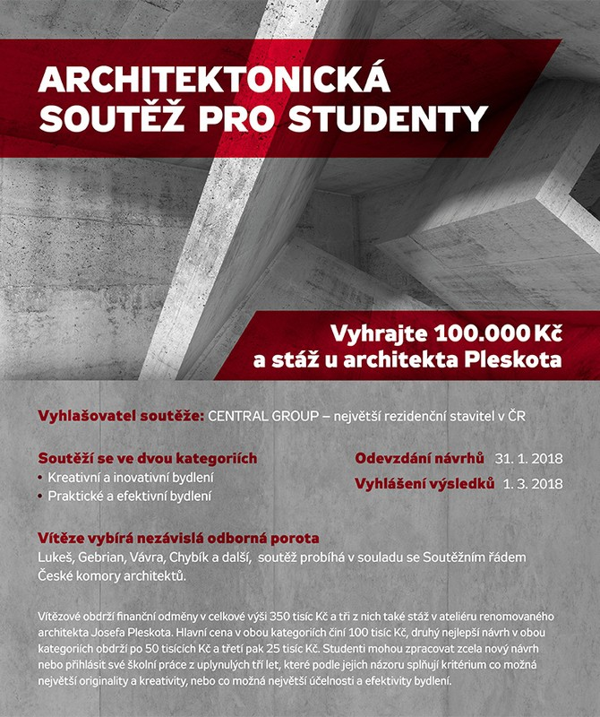 Pořádáním architektonických soutěží pro studenty chceme přispět ke vzdělávání nastupující generace