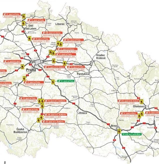 Vybrána jsou ta nejkritičtější místa na dálnicích
