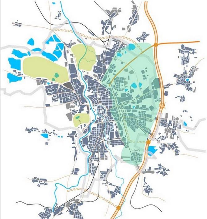 Město se doposud rozvíjelo západním směrem