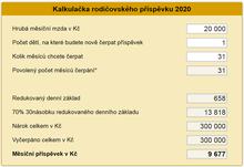 Rodičovský příspěvek 2020 - kalkulačka