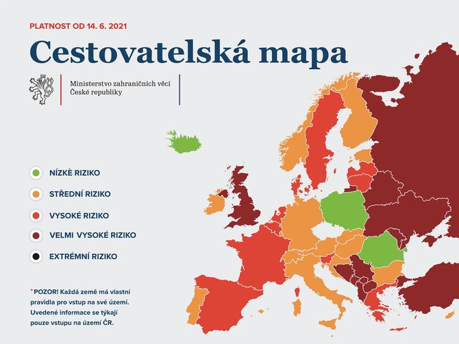 Cestovatelská mapa od 14. června